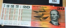6 x Australian $20 paper notes, all