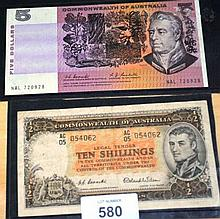 Australian $5 note Coombs/Randall, together