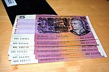 6 x Coombs/Randall $5 notes