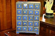 Indian 20 drawer table top cabinet, Indigo painted