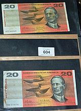 2 x Phillips/Randall $20 notes