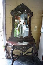 Ornate carved mahogany hallway console table,