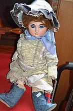Vintage doll, porcelain head, composite body, blue