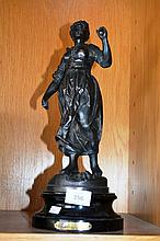 Antique French Spelter figure of a woman, Faneuse,