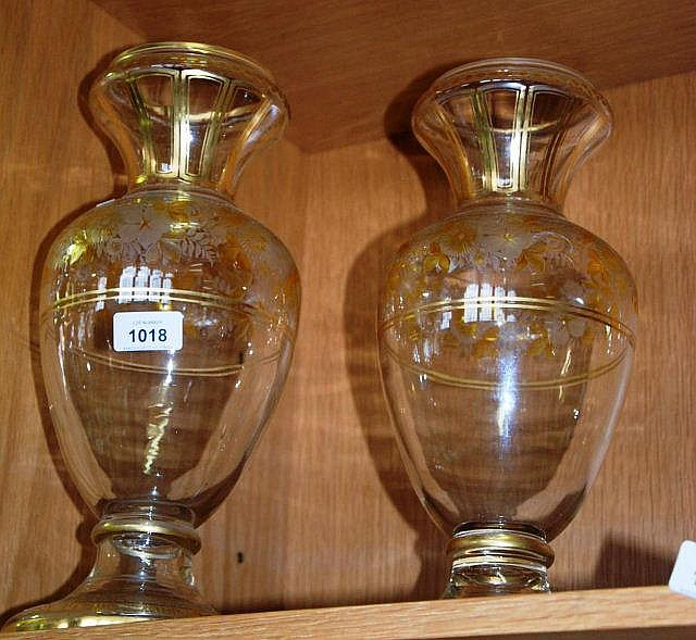 Pair of antique engraved glass vases with citrine