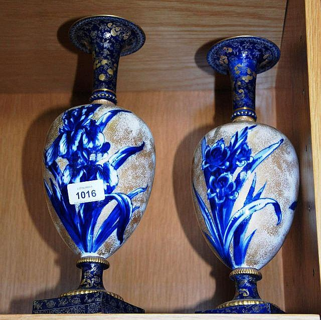 Antique pair Doulton Burslem 'Blue iris' cases,