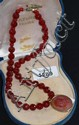 An Extasia faceted orange stone necklace with