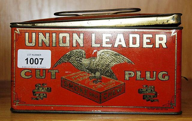 Vintage tobacco tin 'Union Leader cut plug', lid