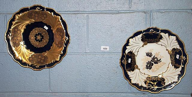 2 x German pottery wall platters with blue gilt &