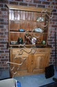 Antique kauri pine dresser, open shelf top with a