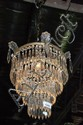 Good vintage drop crystal hanging light fitting, 4