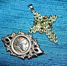2 pieces of jewellery incl. a silver vintage