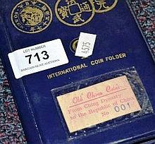 International coin folder of old Chinese coins,