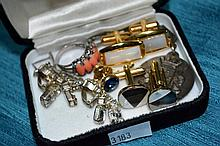 Qty of various cufflinks, rings, earrings, etc