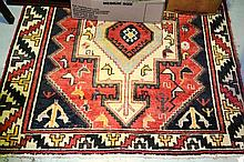 Pure wool hand woven tribal rug with stylised bird