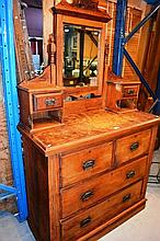Federation kauri pine dutchess chest, mirror back