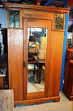 Kauri pine wardrobe, central mirrored door,