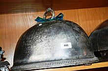 Antique Brittannia metal food dome, scrolled