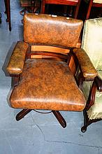 Vintage oak framed desk chair with brown