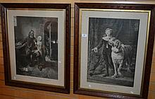 Pair of antique lithographic prints, 'Eyes to the
