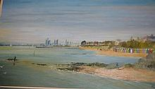 Agar, oil on board, beach huts with city backdrop,