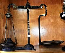 Good set of antique wrought iron scales, by W&T;