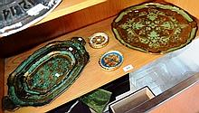 Collection of ornate Italian trays & coasters, 3
