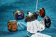 5 x silver rings set with various stones such as