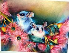 Oil on board, 'pygmy possums', signed 'Greenaway',