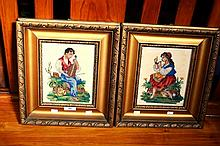2 vintage needlepoint pictures, 1 of a man with