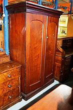 Antique cedar wardrobe, 2 panelled doors, interior