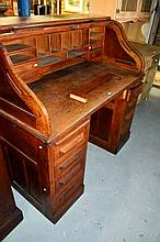 Vintage oak roll top desk, Cutler style, interior