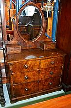 Antique Victorian burr walnut dressing chest, oval
