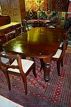 Antique mahogany extension dining table,