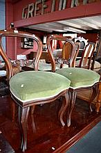 Pair of mahogany balloon-backed dining chairs,