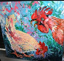 Nicki Braithwaite, oil on canvas, chickens,