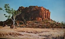 Chris Meinema, oil on board, 'Oscar Butte - a rock