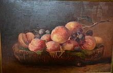 Unsigned oil on board, still life of fruit, 30 x