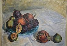 Artist unknown, still life of fruit, signed