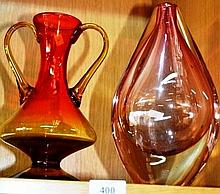 2 various art glass vases, 1 amber coloured with
