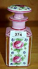 Antique French porcelain perfume bottle, hand