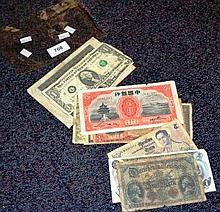 Bundle of assorted world bank notes, various