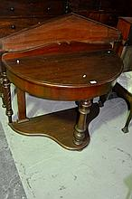 Antique demi-lune wash stand/console table,