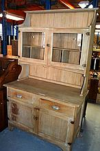 Antique stripped kauri pine kitchen dresser, pair