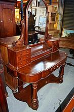 Antique cedar dressing table, mirror back with