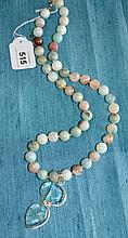 Necklace and pendant set with amazonite stones in