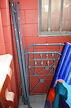 Antique, wrought iron single bed frame blue and