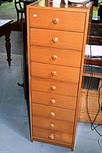 Tall bedroom chest of 9 x drawers, 126cm tall