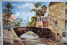 Dennis J. Smith watercolour, stone bridge with