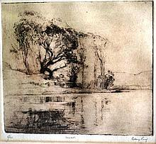 Sydney Long, etching, river bank scene with